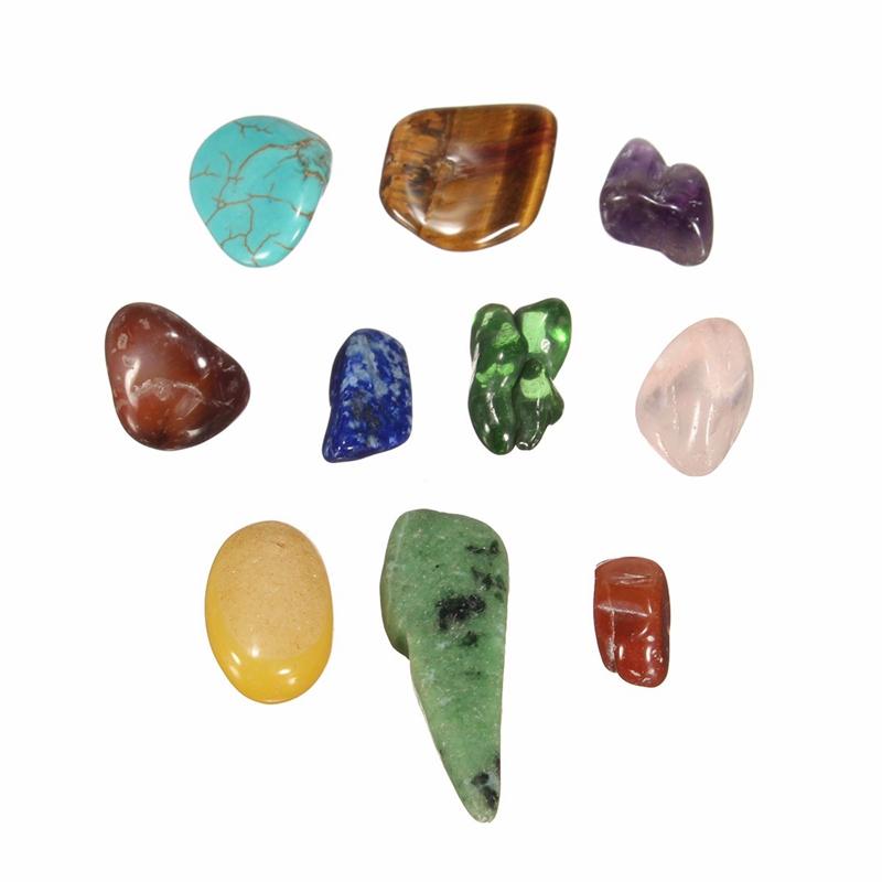 KiWarm 255g Ten Kinds Stone Natural Quartz Crystal Rock Chips Energy Crystal Stones Miniatures Moss Terrarium  Flower Pot Decor