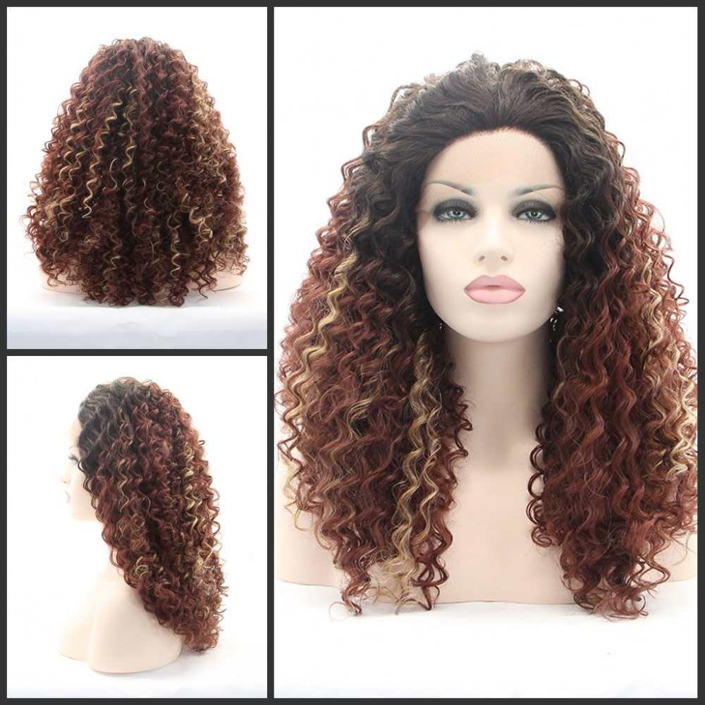 Synthetic Lace Front Wig Heat Resistant Kanekalon Hair Ombre Natural Black Blonde Tone Color Loose Curly Wig/FREE SHIPP - Qingdao noble queen hair factory store