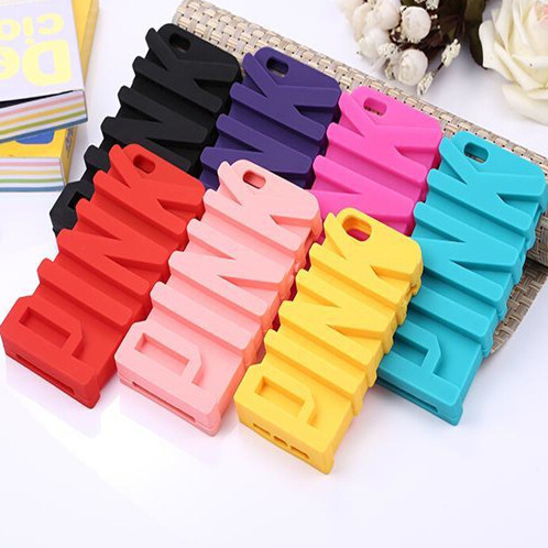 1 PCS/Lot 3D Cute PINK Letter Case Cover iPhone 6 4.7 Plus 5.5 Soft Silicone 7 Color - Beauty Mobile store