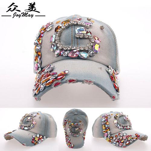 New 2015 Summer Fashion Women Korean Exquisite Color Diamante G Baseball Cap,Female Casual Denim Hats,Free Shipping cm177(China (Mainland))