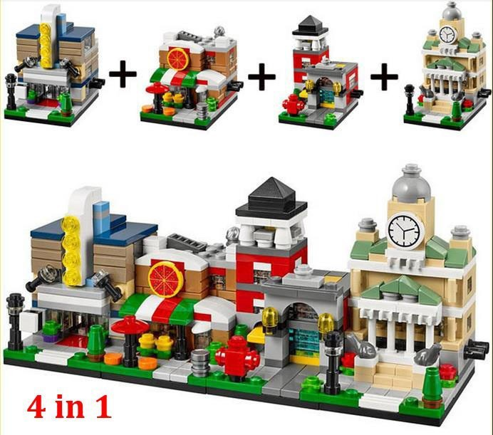 4 jogos/lote jouets - R - Us Bricktober Mini modulaire Set Movie Theater / Pizza lieu / de la / Town Hall bloc jouets Decool 1101 - 1104(China (Mainland))