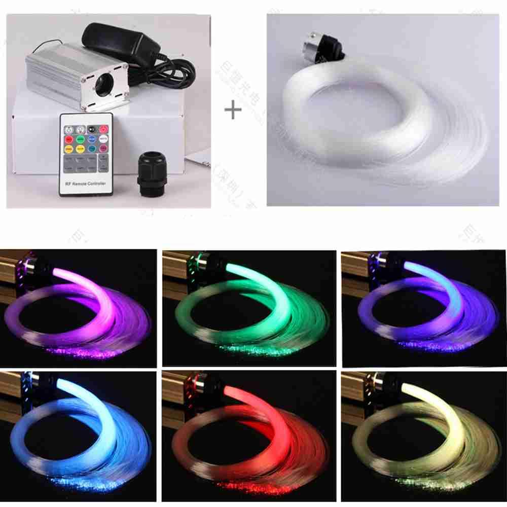 6W RGB/White LED Fiber Optic Illuminator + Optic Fiber Light + DC 12V Adapter + 16key Remote For Car Home Lighting Decoration(China (Mainland))