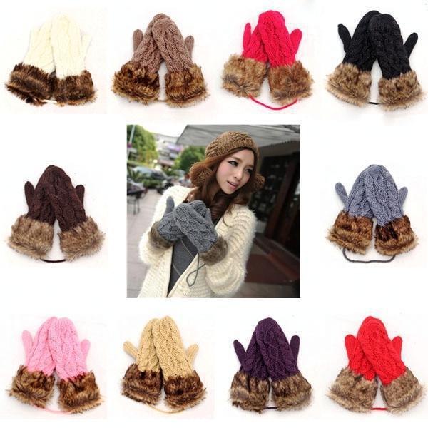 Cute Hot Ladies Girls Mitten Knitting Wool Fur Halter Wrist Winter Warm Gloves(China (Mainland))