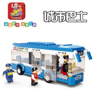 SLUBAN little small luban New creative plastic toy bricks city bus blocks city bus single-deck buses free shipping