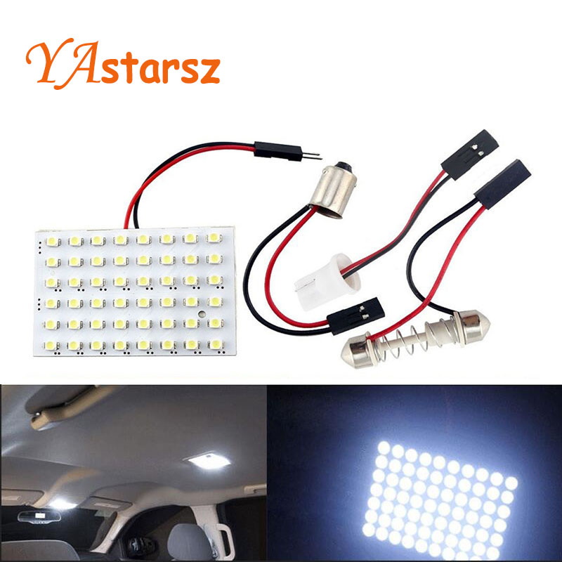 48 LED Auto Car Dome Festoon Interior Bulb Roof Light Lamp with T10 BA9S Festoon Adapter Base Reading light High Quality(China (Mainland))