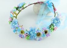 New Women Wedding BIG Sun Flower Wreath headband Girl Party Floral garlands with Ribbon Adjustable flower crown Hair Accessories