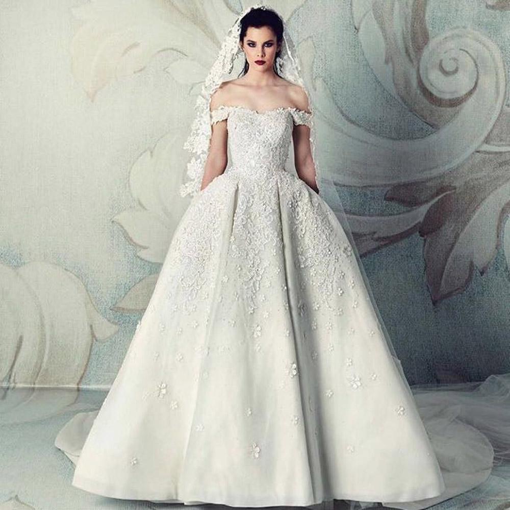 Saudi Arabia New Sweetheart Ball Gown Ivory Wedding Dresses Hot Sale Custom Made Flowers Beading