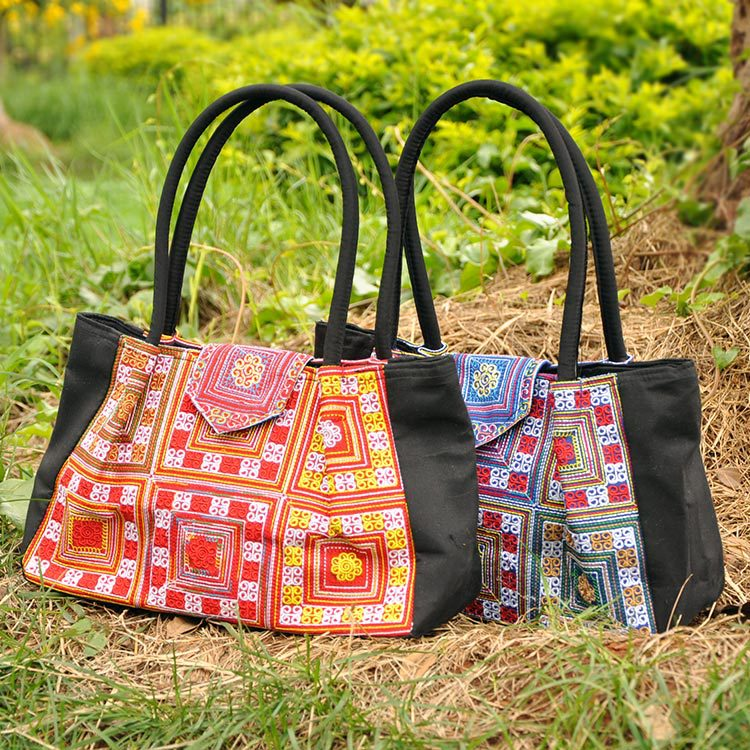 India Thailand Style chinese national bag ethnic Embroidered Handbag Cross stitch embroidery shoulder bag Travel shopping bag(China (Mainland))