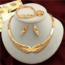 אופנה כלה תכשיטי סטים לנשים דובאי זהב גדול שרשרת עגילי צמיד טבעת חתונה אירוסין תכשיטי סט(China)