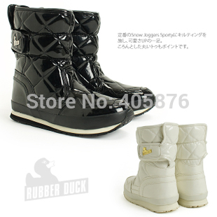 Free shipping 2014 new arrival rubber duck japanned leather medium-leg snow boots women 5-color(China (Mainland))