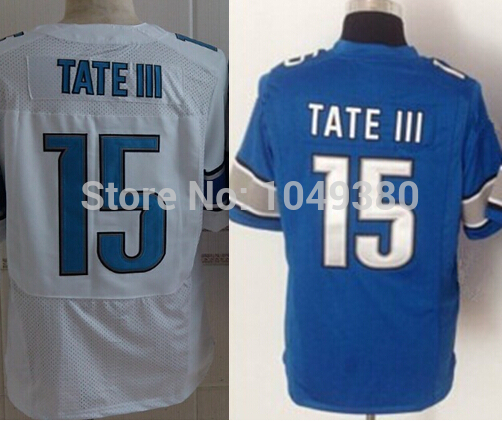 free shipping New 100% Stitched Detroit #15 Golden Tate III Jersey American Football Jerseys Elite Game Limited Blue White Colo(China (Mainland))