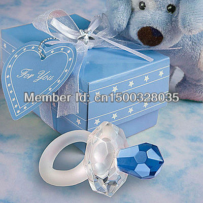 Wedding Gift Blue/Pink Crystal Pacifier Favors (Set of 12 Pieces)(China (Mainland))