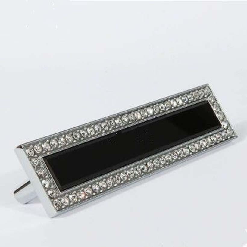 96mm fashion deluxe glass diamond modern furniture handle black glass drawer cabinet pull silver chrome dresser door handles(China (Mainland))