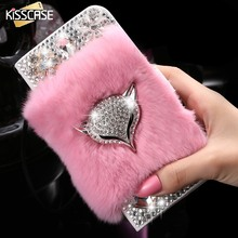 Buy KISSCASE Bling Diamond Fox Case Samsung Galaxy S6 Edge Rabbit Fur Shells Girly Lady Leather Wallet Holster Stand Flip Cover for $8.99 in AliExpress store