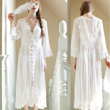 Summer style Women Robes court French lace white transparent sleeping princess dress the bride sexy pajamas for pregnant women(China (Mainland))
