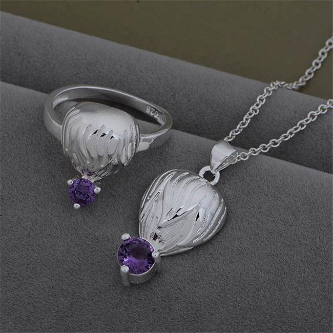 AS531 Hot 925 sterling silver Set,Wholesale fashion Jewelry Sets, Ring 599 + Necklace 926 /bxkakora(China (Mainland))