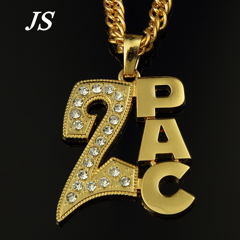 "JS Gold Silver Letter Tupac 2PAC Pendant 35"" Long Chain Necklace Bling Hip Hop Clear Crystal Jewelry for Men Women HN042(China (Mainland))"
