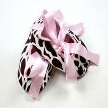 Infant Baby Toddler Girl Dot Damask Zebra Leopard Print Silk Ribbon Shoes