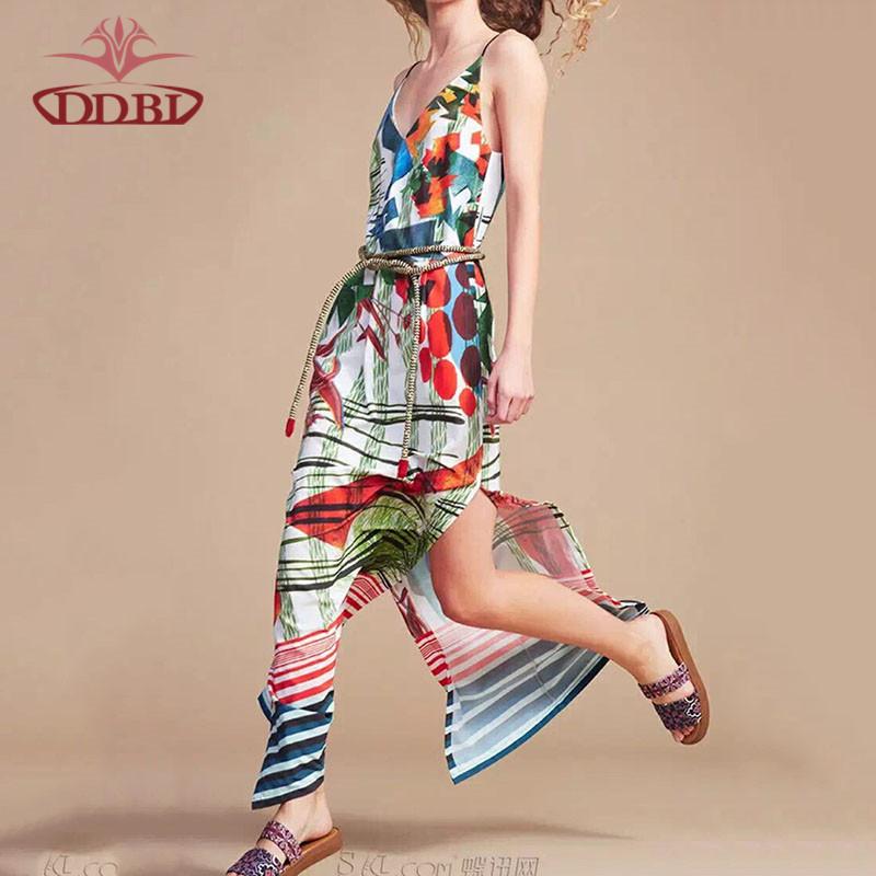 Two sides open strap spaghetti ankle length 2016 high quality fashion dress beach side dresses longa160408(China (Mainland))