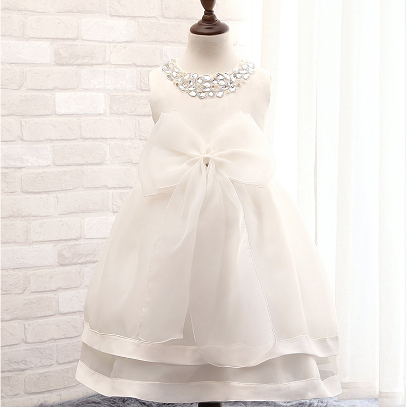 2016 New Todder Girl Clothing Big Bow Back Little Girl Party Dresses Christening Gowns Sleeveless Girl Communion Dresses<br><br>Aliexpress