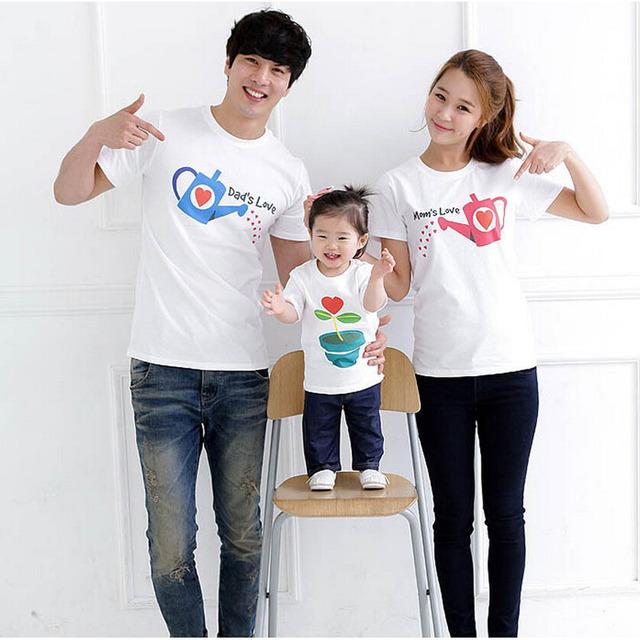 Семья комплект мода любовь лето с коротким рукавом - рубашка соответствия семья одежда ...