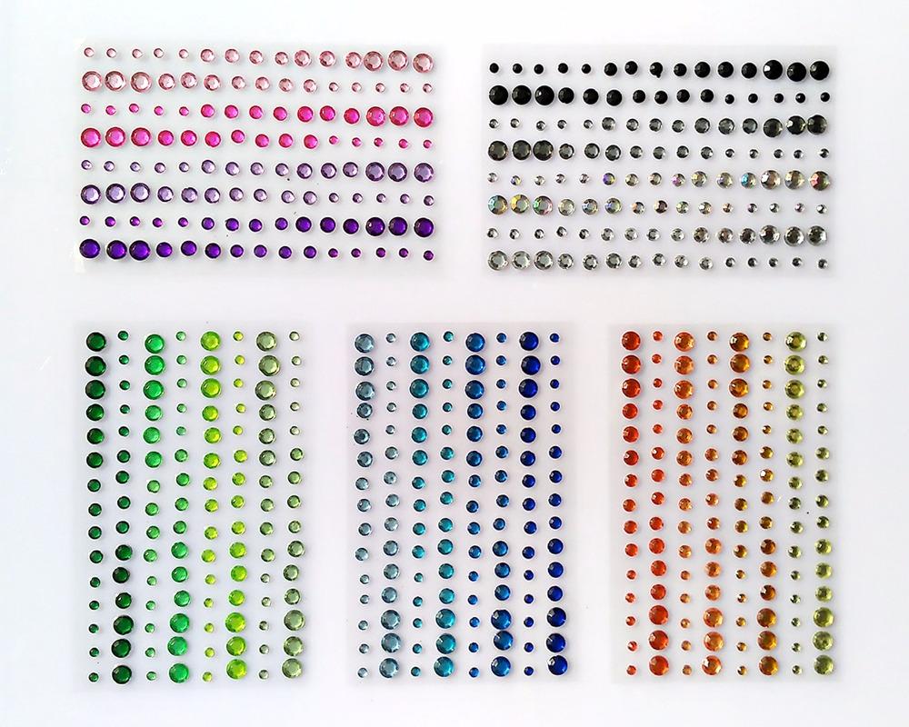 (Packs of 25) Self Adhesive Rhinestones 120pcs / 4colors mix acrylic gem sticker scrapbooking embellishments(China (Mainland))