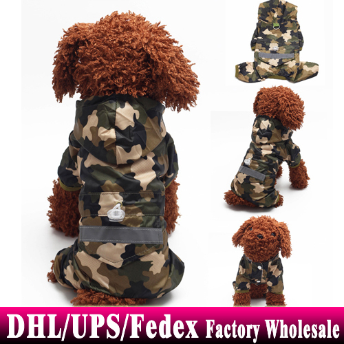BY DHL Fedex 100sets/lot Pet Dog Rain Coat Jacket Clothes Dogs Puppy Raincoat Waterproof Clothes for Dogs(China (Mainland))