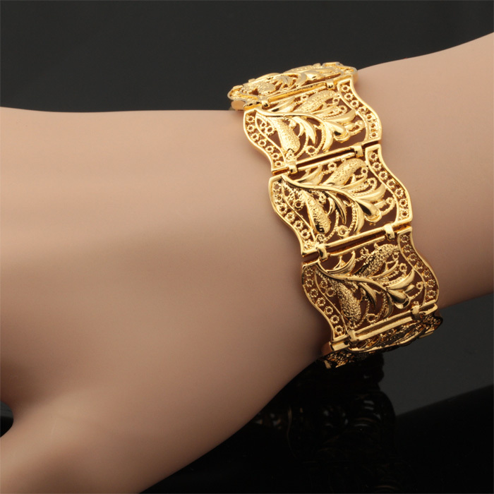 Vintage Bracelet Bangle Plant Pattern New Trendy Platinum 18K Real Gold Plated Women Men Jewelry 20