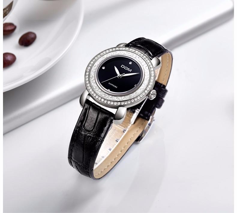 Дом 2016 женщин часы горный хрусталь кристалл кварцевые часы кожаный пояс мода личности свободного покроя спортивные водонепроницаемые наручные часы