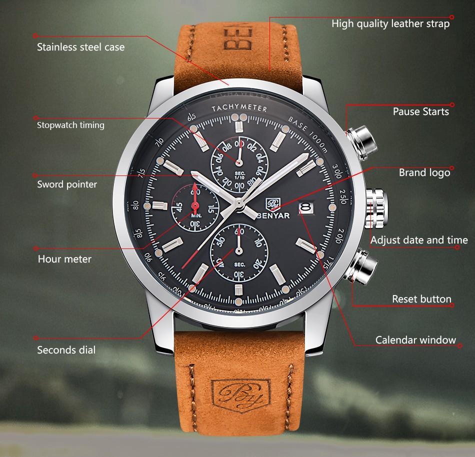 BENYAR Fashion Chronograph Sport Mens Watches Top Brand ...
