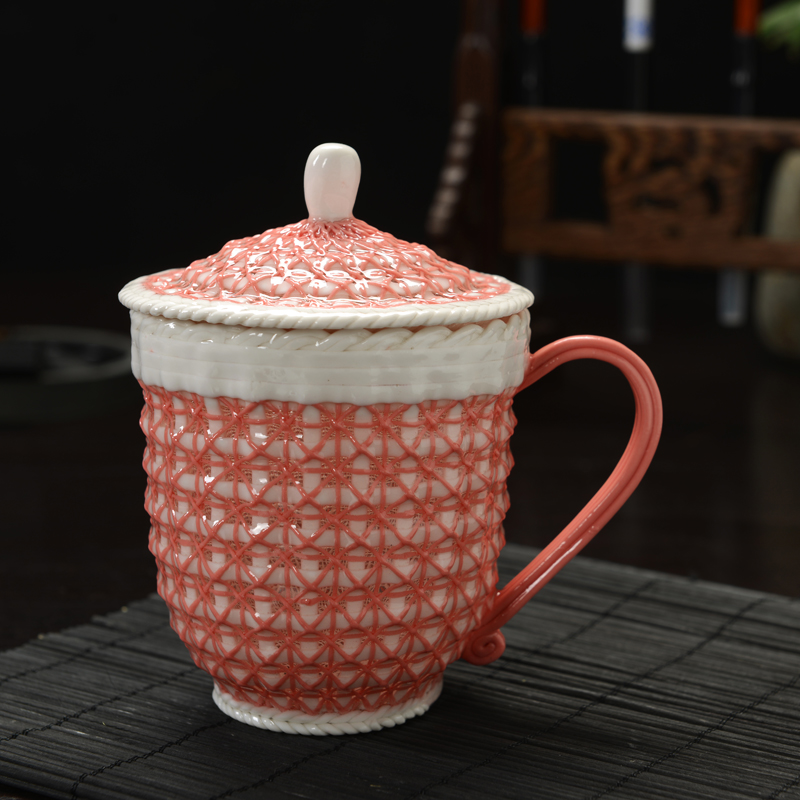 Hand woven ceramic lovers cup a cup of coffee in the office Cup Cup exquisite hand woven hollow tea<br>