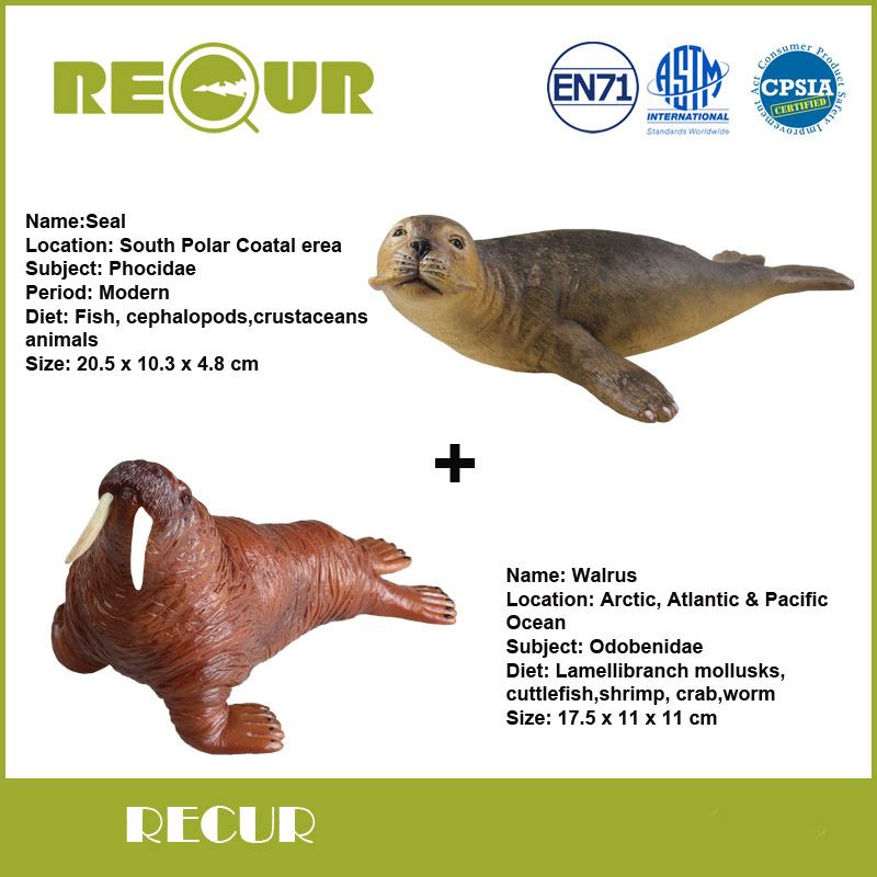 2 Pcs/Lot Recur Toys Seal+Walrus Marine life Model High Simulation PVC Toy Hand Painted Soft Animal Toys Hot Sale Gift For Kids(China (Mainland))