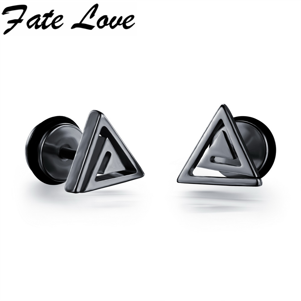 Casual Stainless Steel Triangle Design Stud Earrings Black White Gold Colors Man Jewelry Male Earrings FL300(China (Mainland))