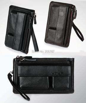 Hot sale fashion 2 colors black and brown men wallets genuine leather  handbags men (GW30)