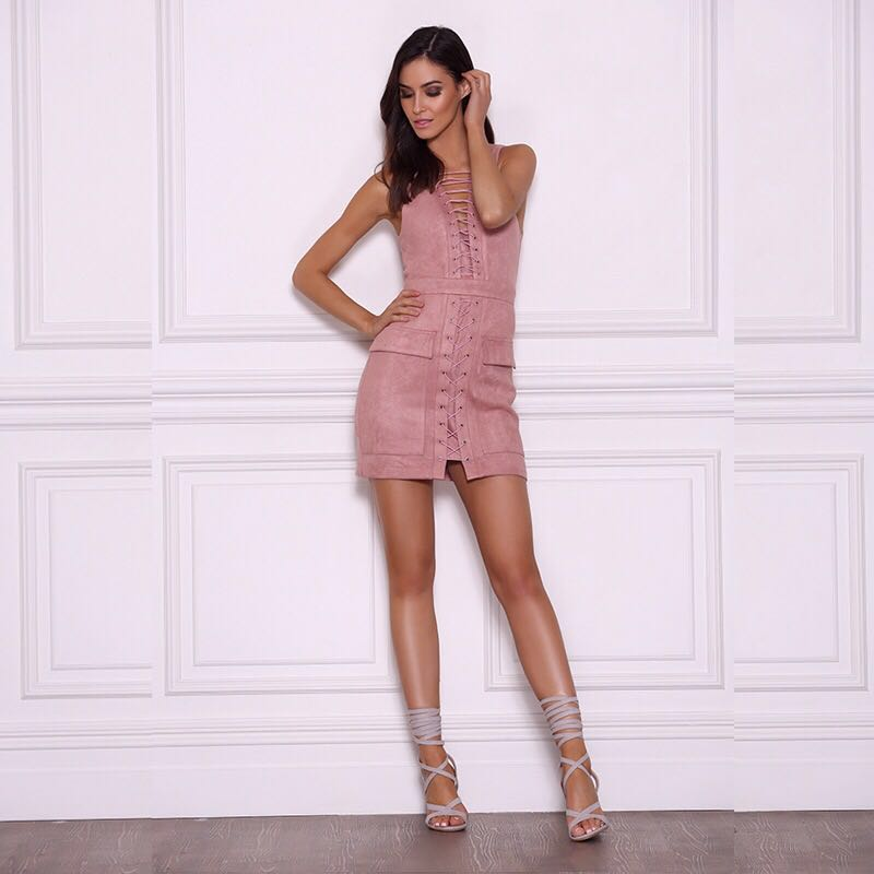 BUY LIFE Summer Sexy lace up sleeveless suede lether women party club short dress hollow out high waist dress Vintage dress(China (Mainland))