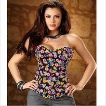New Size S-XXL Corsets Floral Bustier Sexy Women Waist Training Corsets+G-String Overbust Corselet Body Shapers Intimate Apparel