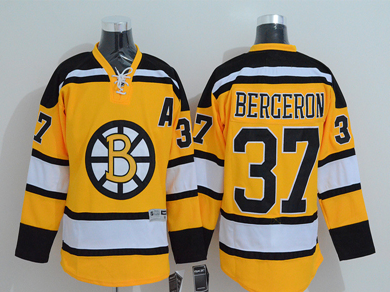 Patrice Bergeron Jersey Men's bruins #37 Patrice Bergeron Home Yellow White Black Stitched Embroidery Logo Ice Hockey Jerseys(China (Mainland))