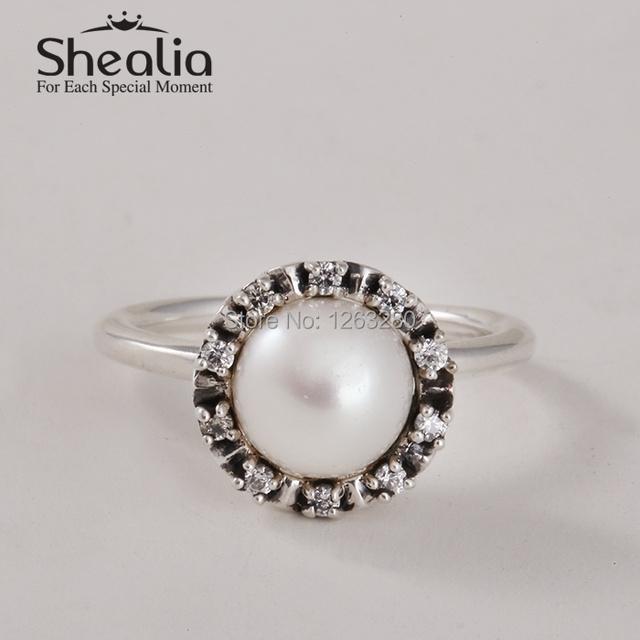 Весна вечная благодать кольца с белый жемчуг и прозрачный CZ 925 чистое серебро кольца для женщины своими руками аксессуары RIP114