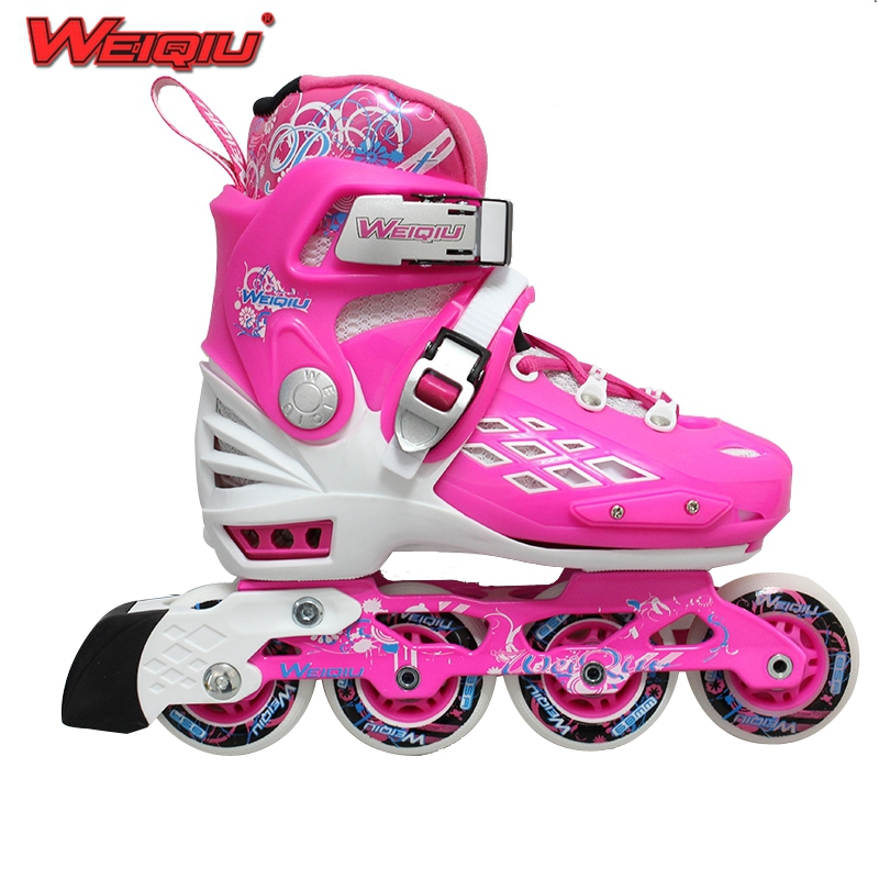 Free shipping 2015 NEW Inline Skates for Children Kid's Roller Skates Shoes White pink/White blue Flash Speed Skate Shoes(China (Mainland))