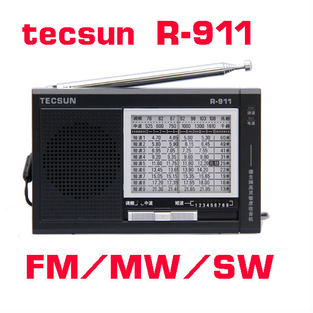 TECSUN R-911 AM/ FM / SM (11 bands) Multi Bands Radio Receiver Broadcast With Built-In Speaker R911 radio(China (Mainland))