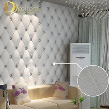 free shipping faux leather soft bag 3d wallpaper PVC white bedside sofa tv background wall wallpaper papel de parede R161(China (Mainland))