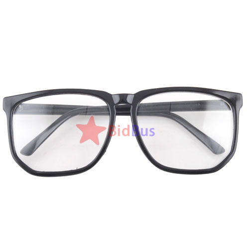 bidbus fast large square clear lens black frame