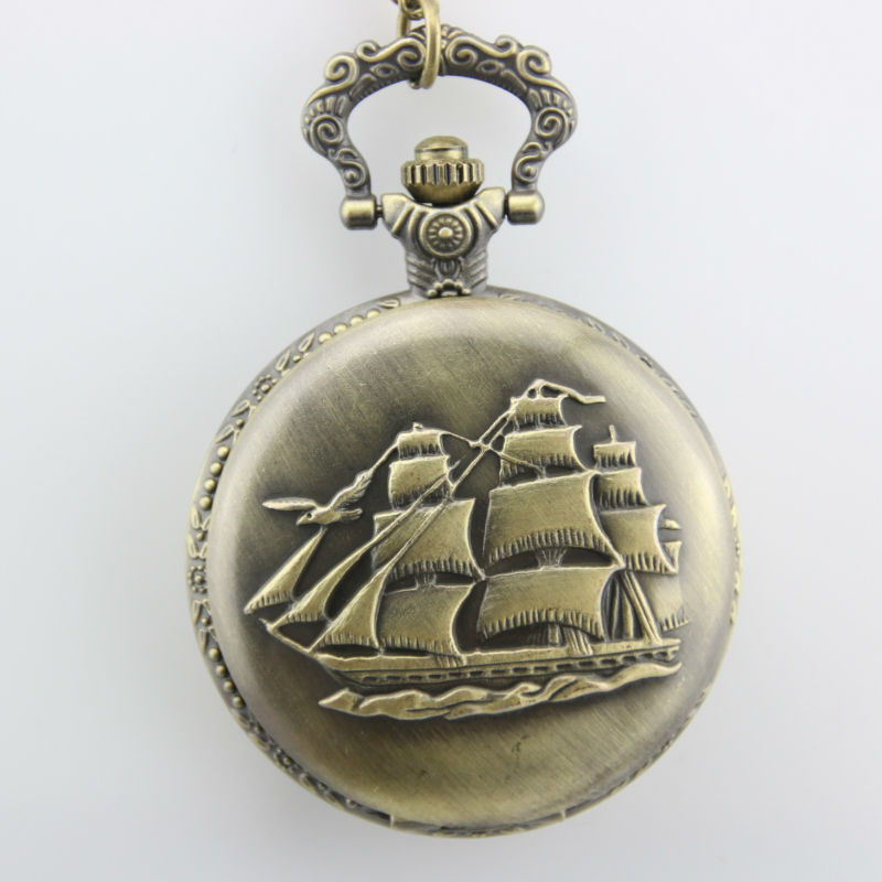 High Quality Classical Copper Vintage Sailboat Pocket Watch
