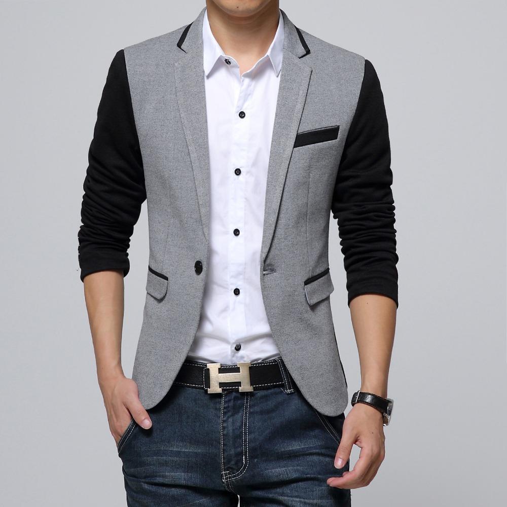 new slim fit casual jacket cotton men blazer jacket single button gray mens suit jacket 2016. Black Bedroom Furniture Sets. Home Design Ideas