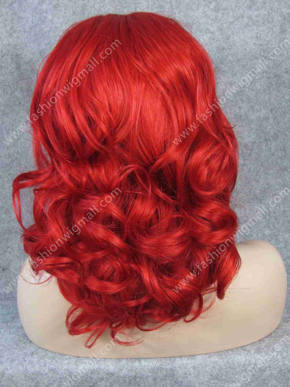 Instock 16 #3100 Red Wavy Wig Medium Long Body Wave Ladies Kanekalon Lace Front Synthetic Wig S19<br><br>Aliexpress
