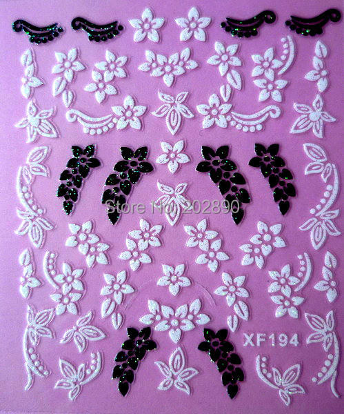 1sheets 3D DIY Black and White flower Designs Decals Nail Art Stickers Wraps Decorations Manicure Tools for Polish XF194(China (Mainland))