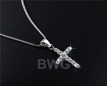 Vintage Crystal Cross Necklaces Pendants Silver Plated Zircon Jewelry Collares Mujer Statement Colar For Women Gift