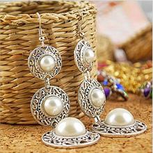 Fashion Dangle Earrings  New Style Retro Noble WOmen 3 Circle White Simulated Pearl Drop Earrings(China (Mainland))
