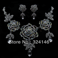 Free shipping 100% AB color Rose crystal bridal jewelry sets alloy bib necklace wedding necklace earrings set accessory