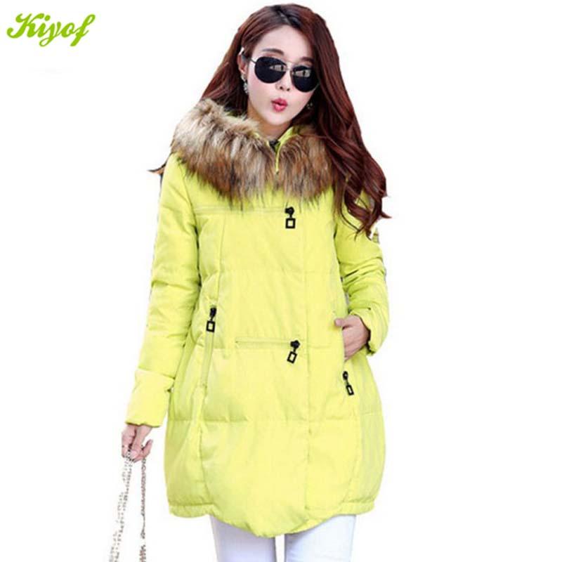 1PC 2015 Winter Coat Women Duck Jacket Faux Fur Collar Plus Size Thickening Parkas BB0001